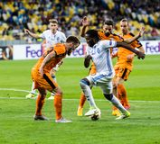 """€ """"Skenderbeu, SE de Kyiv del dínamo del partido de fútbol de la liga del Europa de la UEFA Foto de archivo"""
