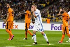 """€ """"Skenderbeu, SE de Kyiv del dínamo del partido de fútbol de la liga del Europa de la UEFA Fotografía de archivo libre de regalías"""