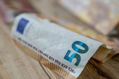 50-€-banknotes с небольшой глубиной поля стоковое фото