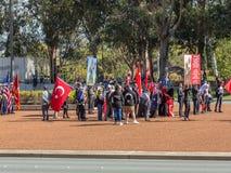 """€ de CANBERRA, AUSTRÁLIA """"25 de abril de 2019: Um contingente que marcha em Anzac Day National Ceremony realizado anualmente em  imagem de stock royalty free"""
