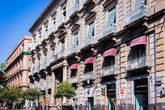 """€ de Catania, Sicilia, Italia """"4 de agosto de 2018: paisaje urbano hermoso con los edificios antiguos en la parte histórica de l imagen de archivo"""