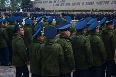 """€ de VOLGOGRAD """"o 15 de outubro: Parada militar Imagens de Stock"""