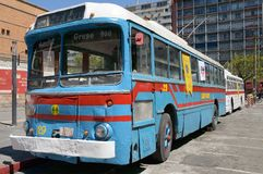 """€ MONTEVIDEOS, URUGUAY """"am 6. Oktober 2018: Bus der Laufkatze zwei auf Ausstellung, Seitenansicht lizenzfreie stockfotos"""