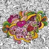 """€ Muster der Karikatur nahtloses """"Liebe Flüchtiger Hintergrund mit verschiedenen Gegenständen, Gegenstände, Band, Valentinsgruß Lizenzfreie Stockfotos"""