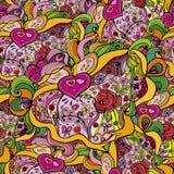 """€ Muster der Karikatur nahtloses """"Liebe Flüchtiger Hintergrund mit verschiedenen Gegenständen, Gegenstände, Band, Valentinsgruß Stockfotografie"""