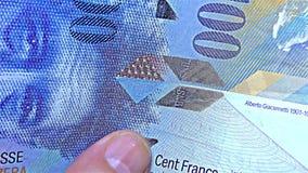 """€ suizo del dinero """"100 CHF, francos del centavo - raya olográfica de la raya del †iridiscente del billete de banco """", detalle metrajes"""