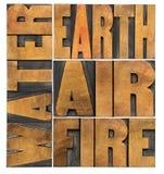 水、地球、空气和火 免版税库存图片