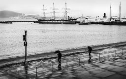 一下雨天在旧金山两把伞 库存照片