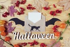 一个万圣夜木桌面的顶视图有纸、猫、信封、棒、莓果和槭树叶子的 复制空间 库存照片