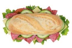 一个三明治的顶视图用意大利辣味香肠 免版税图库摄影