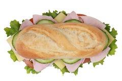一个三明治的顶视图用火腿 免版税库存图片