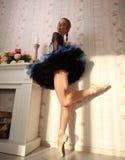 一个专业跳芭蕾舞者的画象在太阳光的在家庭内部,站立在一条腿 免版税库存照片