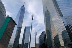 一个世界贸易中心摩天大楼看法  免版税库存照片