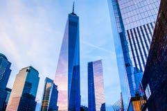 一个世界贸易中心,纪念广场爆心投影纽约 库存照片