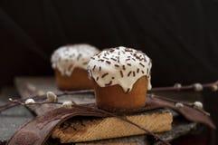 一个两小复活节蛋糕和一根杨柳枝杈在黑暗的木背景 库存图片