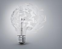 一个乌托邦想法的概念 残破的电灯泡光 免版税库存照片