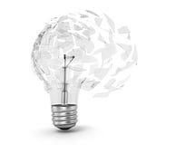 一个乌托邦想法的概念 残破的电灯泡光 库存图片
