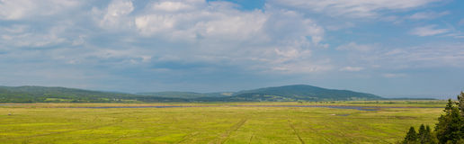 一个五颜六色的农村农田场面的全景 免版税库存图片