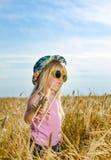 一个五颜六色的帽子和太阳镜的逗人喜爱的小女孩 库存照片