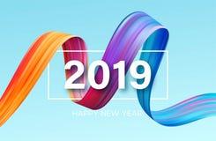 一个五颜六色的绘画的技巧油或丙烯酸漆设计元素的2019个新年 也corel凹道例证向量 库存例证