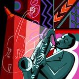一个五颜六色的背景的萨克斯管吹奏者 免版税库存图片