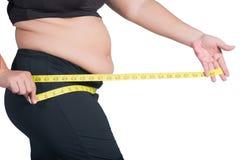 一个亚洲妇女` s超重臀部的特写镜头照片,她是measurin 免版税库存照片