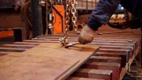 一个人与有一个勾子的一台举的起重机一起使用在末端 在一个平的金属零件的勾子 股票视频