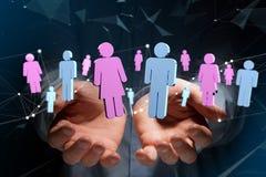 一个人和一次妇女会议的夫妇在互联网- 3D上renderi 免版税库存照片