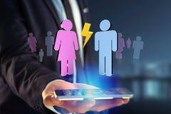一个人和一次妇女会议的夫妇在互联网- 3D上renderi 免版税图库摄影