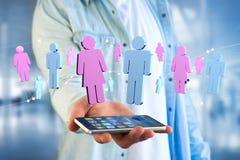 一个人和一次妇女会议的夫妇在互联网- 3D上renderi 免版税库存图片