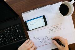 一个人和反对混凝土的稳定的身分的侧视图有标志的与对此得出的图表 统计和股票的概念 库存照片