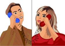 一个人和女孩谈话在电话 库存例证