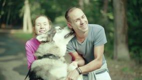 一个人在抚摸狗的公园 股票录像