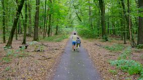 一个人在森林里在一把特别椅子走,起来路,驱动有孩子的一辆自行车,孩子坐 夏天 股票视频