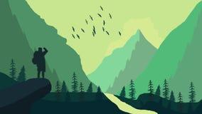 一个人在森林 免版税库存照片