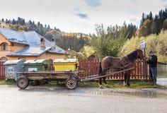 一个人在麸皮城市的郊区拿着马的辔被利用对一个推车在罗马尼亚 免版税库存照片