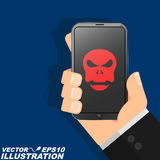 一个人在他的手上拿着一个电话被乱砍 红色头骨在现代屏幕上烧并且表明严肃的危险 平的样式 库存图片
