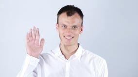 一个人显示他的手你好 免版税库存照片