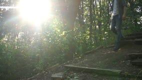 一个人步行沿着向下老残破的台阶在森林里 股票视频