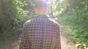 一个人沿森林道路走 照相机跟随人从后面 股票视频