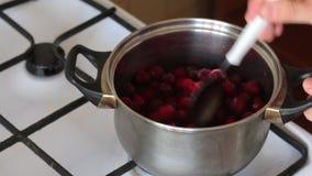 一个人混合在平底深锅的几勺冷冻蔓越桔 r 影视素材