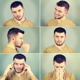 一个人的六情感 图库摄影