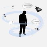一个人的剪影在重音,例证下的 库存图片
