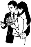 一个人的剪影有一名电话妇女的有一束的拥抱 免版税库存图片