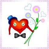 一个人的心脏拿着菊花花束  免版税库存图片