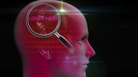 一个人的档案有关闭的在词寂寞的放大镜 向量例证