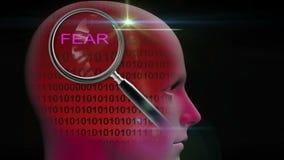 一个人的档案有关闭的在词恐惧的放大镜 皇族释放例证