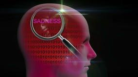 一个人的档案有关闭的在词悲伤的放大镜 库存例证