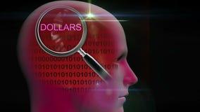 一个人的档案有关闭的在词美元的放大镜 向量例证