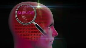 一个人的档案有关闭的在词自杀的放大镜 向量例证
